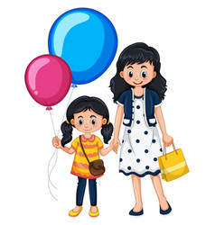 mother and daughter with balloons vector image vector image
