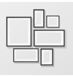Black Picture Frame Template Set vector image