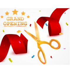 grand opening background with ribbon and confetti vector image
