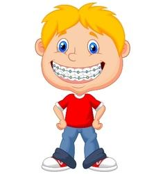 Little boy cartoon with brackets vector image vector image