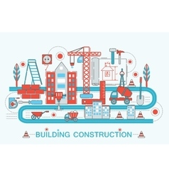 Modern Flat thin Line design Construction and vector image vector image