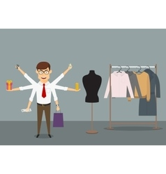 Multitasking businessman shopping in clothes store vector image vector image