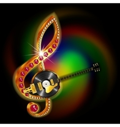 music string jazz guitar and vinyl records vector image vector image