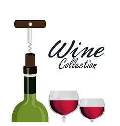 wine glass corkscrew label design isolated vector image