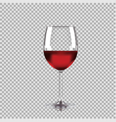 wine glass with red wine transparent vector image