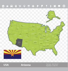 arizona flag and map vector image vector image