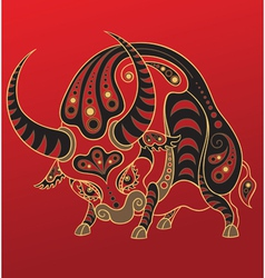 Chinese horoscope Year of the ox vector image