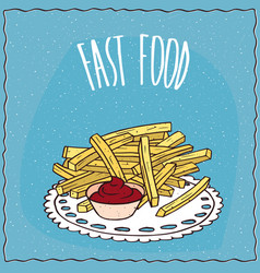french fries or finger chips with flavoring vector image