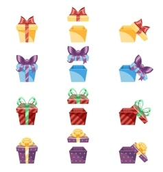 Gift Box New Year Cartoon Flat Design Icon Set vector image