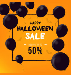 halloween background with black balloons vector image vector image