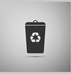 recycle bin flat icon on grey background vector image vector image