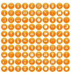 100 health icons set orange vector