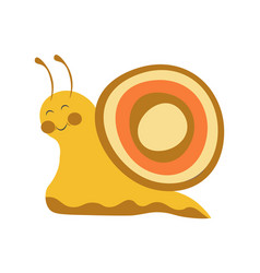 adorable snail with colorful shell and long vector image