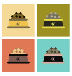 Assembly flat icons dog food bowl vector