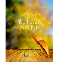 Autumn sale background with an umbrella vector image