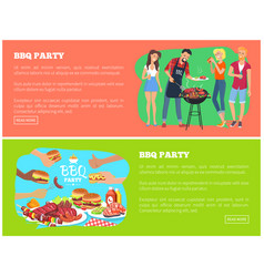 Bbq party and text samples vector