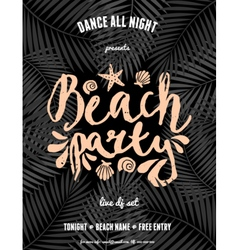 Beach party palm leaves pastel orange text flyer vector