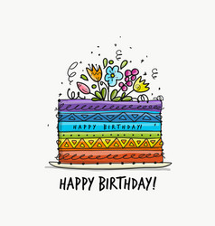 Birthday cake postcard for your design vector