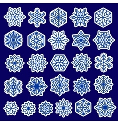Blue Snowflakes Set Stickers Design vector image