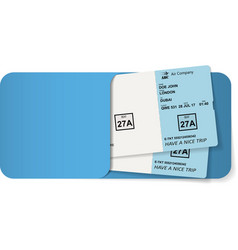 boarding pass inside of blue envelope vector image