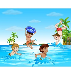 Boys swimming and diving in the sea vector image