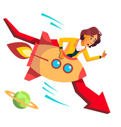 business woman riding a rocket falls down on vector image