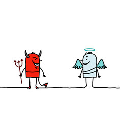 Cartoon characters - devil and angel vector