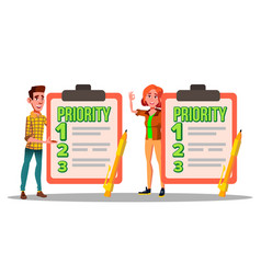 characters have priority list task to do vector image