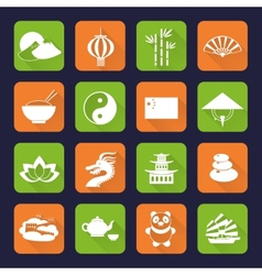 China icons set flat vector image