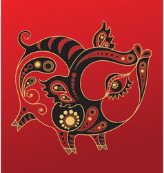 chinese horoscope year of the pig vector image