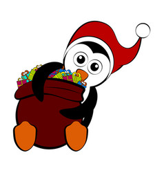 christmas penguin holding a present bag vector image