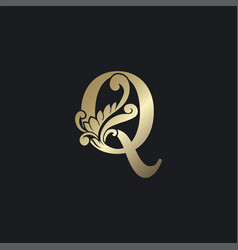 Classy gold letter q luxury decorative initial vector