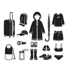 clothes and necessities for rainy season travel vector image
