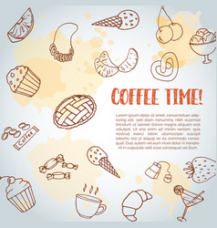 coffee time text background sweet pastry vector image