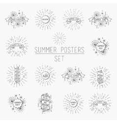 Collection of universal summer posters vector image vector image