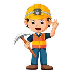 Construction man holding axe vector