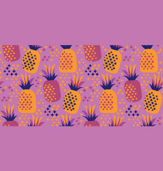 cool party night colors pineapple seamless pattern vector image