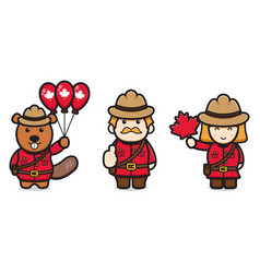 Cute beaver oldman and girl character celebrated vector