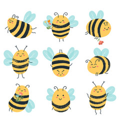 cute bees funny yellow bee characters hand drawn vector image