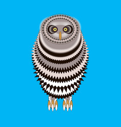 cute cartoon owl isolated on a blue background vector image