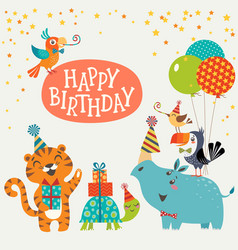 Cute jungle animals happy birthday card vector image