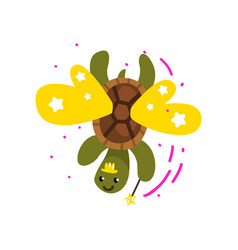 cute winged turtle with a magic wand fantasy vector image