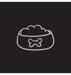 Dog bowl with food sketch icon vector image