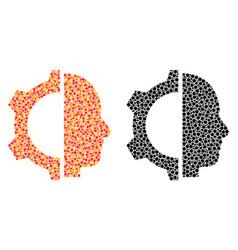 Dot cyborg gear mosaic icons vector