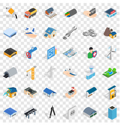draw plan icons set isometric style vector image