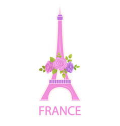 eiffel tower travel famous world sight and flowers vector image