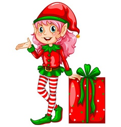 Elf and gift vector image
