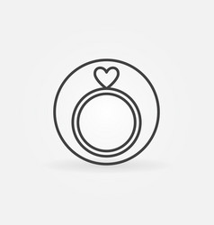 engagement ring with heart icon in thin vector image