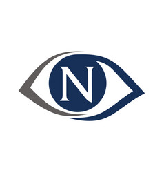 Eye care solutions letter n vector