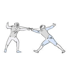 Fighting swordsman in protective sportswear vector